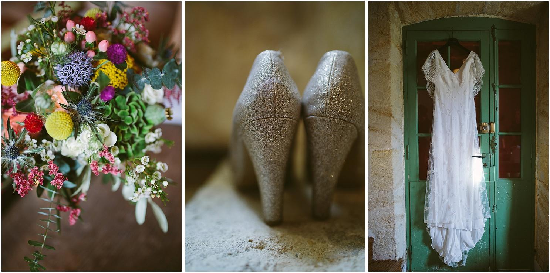 fleurs robe et chaussures au chateau de mouchac