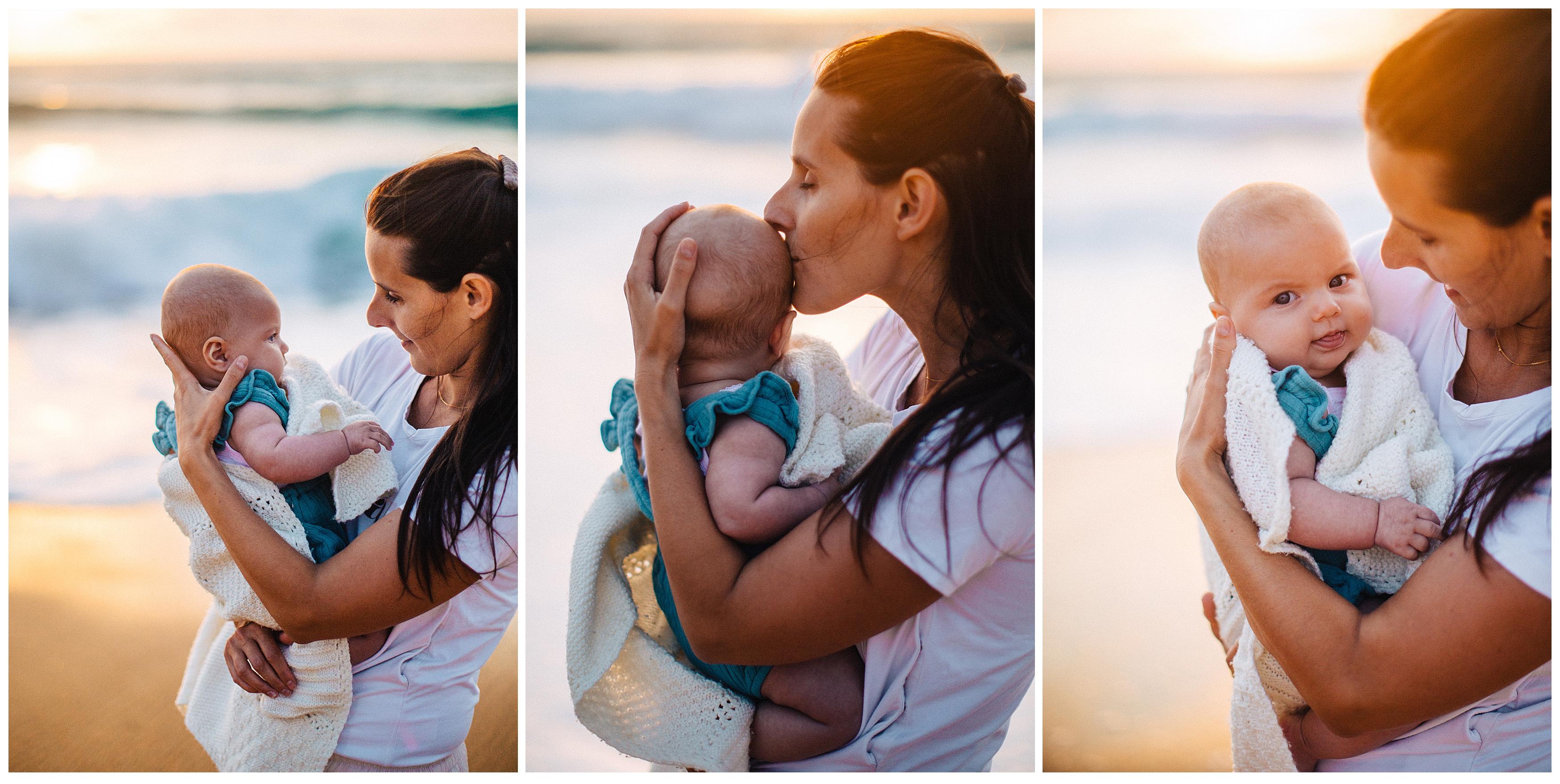 maman et bébé à hossegor